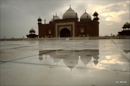 Jawab odbijający się w wodach Taj Mahal